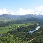 View of the Sibun River river from the observation gazebo on one of several trails at Sleeping G