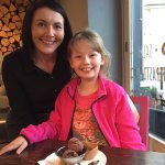 My daughter with Teresa and her favourite dessert!