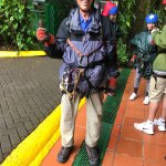 Bill getting ready to do Zip Lining and Tarzan Swing at Selvatura Park, Monteverde