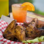 Smoked Wings with a Ciroc Punch from the Bar