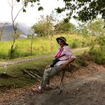 Sandy relaxing after hike at Arenal Volcano National Park