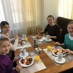 Our girls enjoys their breakfast after a good night of rest!