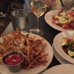 Parmesan truffle fries, lobster and sauteed veg..delicious!