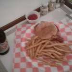 room service, burger and fries... I was hungry and they were good...
