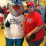 Travel Blogger Farrah Estrella With Billy the Marlin at Marlins Park in Miami, Florida