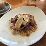 Buttermilk Waffle with Apple Syrup, Bacon and Banana