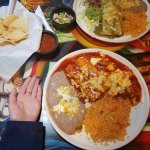 Giant plates of food. I got the enchilladas and the other plate is the burrito