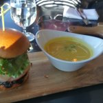 Alberta beef burger and butternut squash bisque