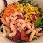 Nasty shrimp salad. Not good. Canned corn, mealy tomato and canned shrimp!