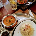Fish Tikka Masala and Channa Chickpa Curry with a side of Dhal