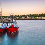 Lobster boats at wharf across from Bayside Inn