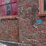 A wall with gum sticking to it!!