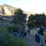 Bear Boxes, picnic tables & cover at Chisos Group Camp Ground