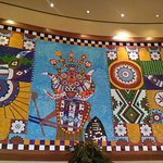 A mosaic depiction of a Zulu ricksha, typical of Durban