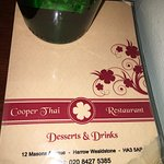 Cooper Thai - Desserts & Drinks (non- alcoholics) Menu