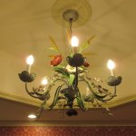 Gorgeous chandeliers in many of the bathrooms