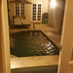 Standing in Bedroom doorway next to bed looking at private hot-tub & pool with ourdoor shower.
