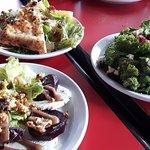 Beet, Caesar, and Kale salads
