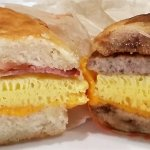 Bacon, Egg & Cheese Biscuit (left) & Sausage, Egg & Cheese McGriddle.