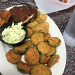 Combo Fried Oysters & Crab Cake Platter  With Fried Zucchini