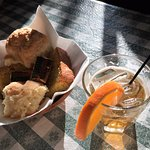 Biscuits, corn bread and Vieux Carre cocktail
