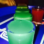 las margaritas in downtown has a rainbow shot they make in front of you!