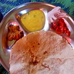 local eatery - Pithla Bharit bhakri, thecha and dahi