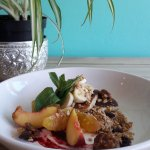 Granola with fresh fruit and Berry coulis