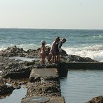Kids on the rock pool