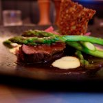 Rare-Breed Fillet Of Beef (roasted new potatoes, asparagus, red wine jus & bearnaise sauce)