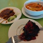 Satay laksa choc pudding