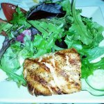 Little house salad with a piece of salmon! Yum!