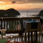 View to Marigot Bay at sunset from Julietta's restaurant, Castries St Lucia