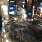 View of the Shibuya Crossing from the hallway of the hotel