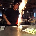 """chef flaming the onion """"volcano"""""""