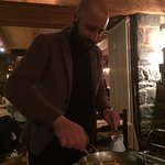 Vincenzo the Head Waiter making our delicious crepes, he was excellent