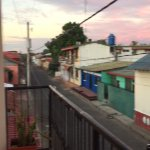 View from balcony onto street