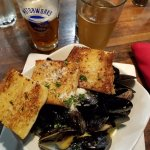 Mussels and grilled bread.
