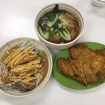 Shredded chicken noodles and pork chop with noodles in soup