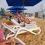 relaxing on beach chair