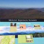 signage identifies distant peaks