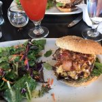 Bacon Cheeseburger with emerald salad and a ceasar of course
