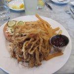 Pork sandwich and fries