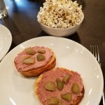 Popcorn & liverwurst appetizers