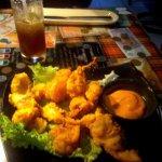 Fried seafood appetizer platter