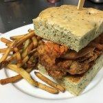 Fried Chicken-Kimchee Sandwich