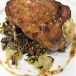 Roast Quail with wild mushroom-caramelized apple stuffing, duck-fat fried wild rice