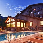 Outdoor hot tub and lap pool at Teton Mountain Lodge & Spa.