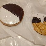 Black and white cookie and almond pastry