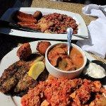 Red Beans & Rice. Creole Combo: Blackened Catfish, Chicken and Sausage Jambalaya, Seafood Gumbo.